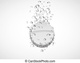Effervescent tablet in water with bubbles.vector...