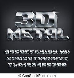 effet, font., symboles, lettres, shadow., chrome, alphabet, métal, nombres, 3d