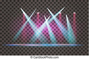 effet lumière, projecteur, vecteur, fond, transparent