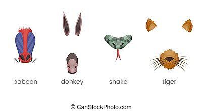 effet, masque, oreilles, set., selfie, âne, dog., vidéo, dessin animé, nose., filtre, diagramme, babouin, serpent, singe, visage animal, photo., éléments