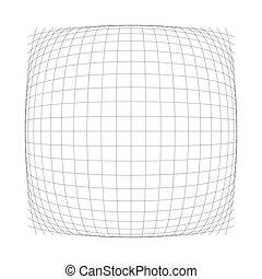 effet, orbe, lignes, grille, déformation, sphérique, globe, boursoufler, lines., distendre, sphere., intersecter, mesh., bosse, protrude, 3d, convexe, dilater, gonfler, houle, matrice, bombement, ou, wire-frame., déformation, chaîne, ampoule