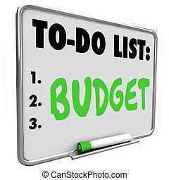 effetti, pagare, elenco, budget, spese, piano, soldi, contabilità, risparmiare