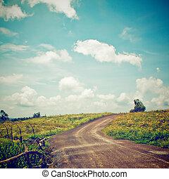 effetto, filtro, paesaggio, retro, strada, collina