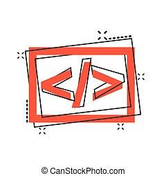 effetto, programmatore, concetto, illustrazione, fonte, icona, vettore, programmazione, tecnologia, comico, concept., schizzo, pictogram., style., cartone animato, api, affari, aperto