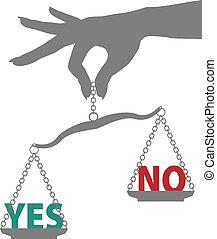 effettuare una pesatura, scala, no, mano, persona, risposta, sì