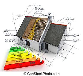 efficace, énergie, construction