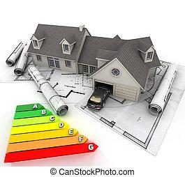 efficace, maison, énergie, construction