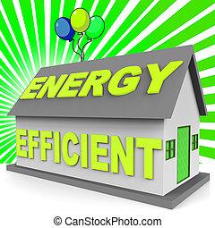 efficace, maison, énergie, rendre, maison, représenter, 3d