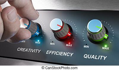 efficacité, compagnie, qualité, créativité, valeurs