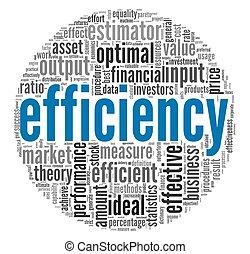 efficacité, concept, étiquette, nuage