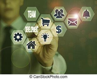 efficacité, projection, development., main, amélioration, ...