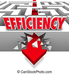 Efficiency word on a maze with an arrow breaking through walls and barriers to illustrate the best shortcut to achieving a goal or mission