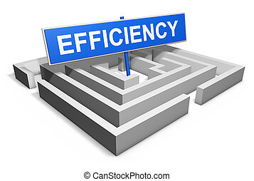 Efficiency business concept with a labyrinth and a blue goal...