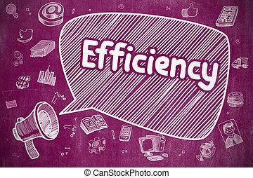 Efficiency - Cartoon Illustration on Purple Chalkboard.