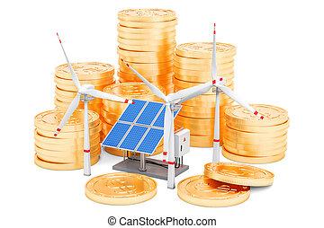 Efficiency from solar energy concept. 3D rendering