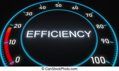 Efficiency futuristic meter or indicator. Conceptual 3D...