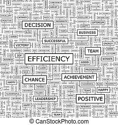 EFFICIENCY. Seamless pattern. Word cloud illustration.