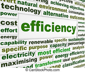 Efficiency technological message. Energy efficiency word clouds concept