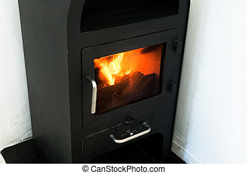 Efficient Fireplace - An efficient small metal fire place...