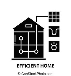 efficient home icon, black vector sign with editable strokes, concept illustration