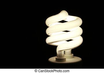 A closeup of an energy saver compact flourescent light bulb.