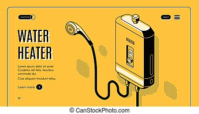 Energy efficient, affordable solutions for modern home bathroom isometric vector web banner, landing page. Shower faucet connected to tankless water heater illustration. Smart house plumbing equipment