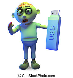 Efficient zombie monster keeps data on a USB thumb drive, 3d illustration render