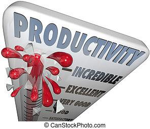 efficienza, produzione, produttività, massimo, termometro