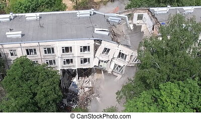 effondrement, bâtiment, appartement, démolition, vue aérienne, pendant