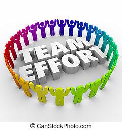 effort, gens, divers, cercle, équipe, main-d'oeuvre