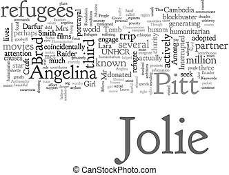efforts, angelina, texte, jolie, humanitaire, fond, elle, wordcloud, concept