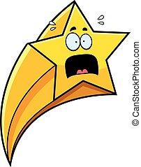 effrayé, étoile filante, dessin animé