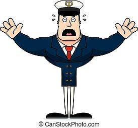 effrayé, capitaine, dessin animé, bateau