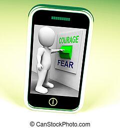 effrayé, courageux, commutateur, courage, peur, ou, spectacles