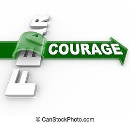 effrayé, courageux, vs, surmonter, courage, peur, bravoure