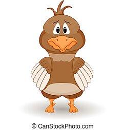 effrayé, dessin animé, poulet