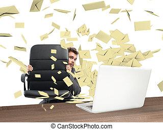 effrayé, email, beaucoup