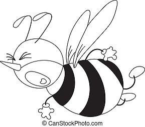 effrayé, esquissé, abeille
