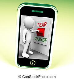 effrayé, gras, commutateur, courage, peur, ou, spectacles