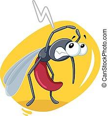 effrayé, insecte, moustique, vecteur, dessin animé