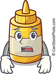 effrayé, moutarde, jaune, bouteille plastique, dessin animé
