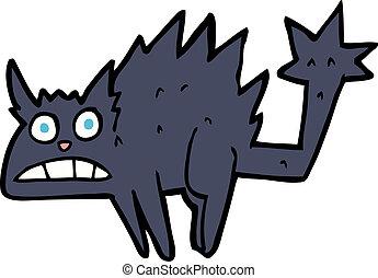 effrayé, noir, dessin animé, chat