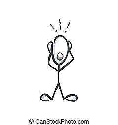 effrayé, panic., choqué, griffonnage, surpris, main, homme, vecteur, illustration, confondu, drawn., croquis, cartoon., stickman, graphique, man.