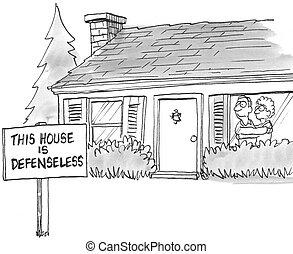 effrayé, propriétaires maison, avoir, a, sans défense, signe