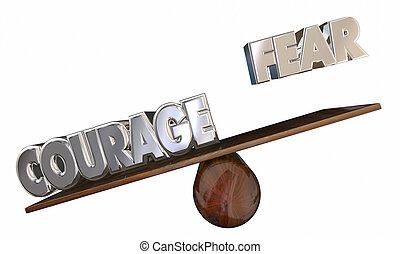 effrayé, vs, voir, courage, mots, peur, sentiment, scie, surmonter, 3d