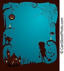 effrayant, affiche, halloween, illustration, thème, vecteur