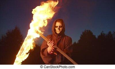 effrayant, brûlé, reaper, mort, faux, surnaturel