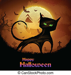 effrayant, chat, nuit halloween