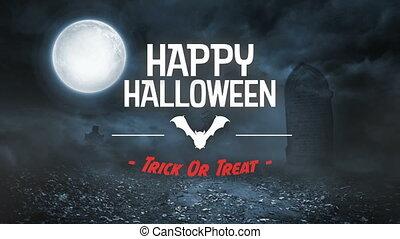 effrayant, cimetière, animation, chauve-souris, halloween