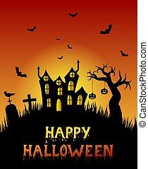 effrayant, cimetière, arbre, halloween, stérile, château, heureux